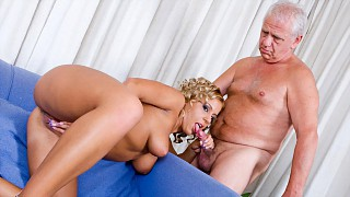 Big Boobed Blonde Amanda Masturbates with Dildo While Blowing Old Man