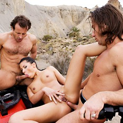 Private video: Vanessa May in a hot and sweaty threesome on a quad bike!