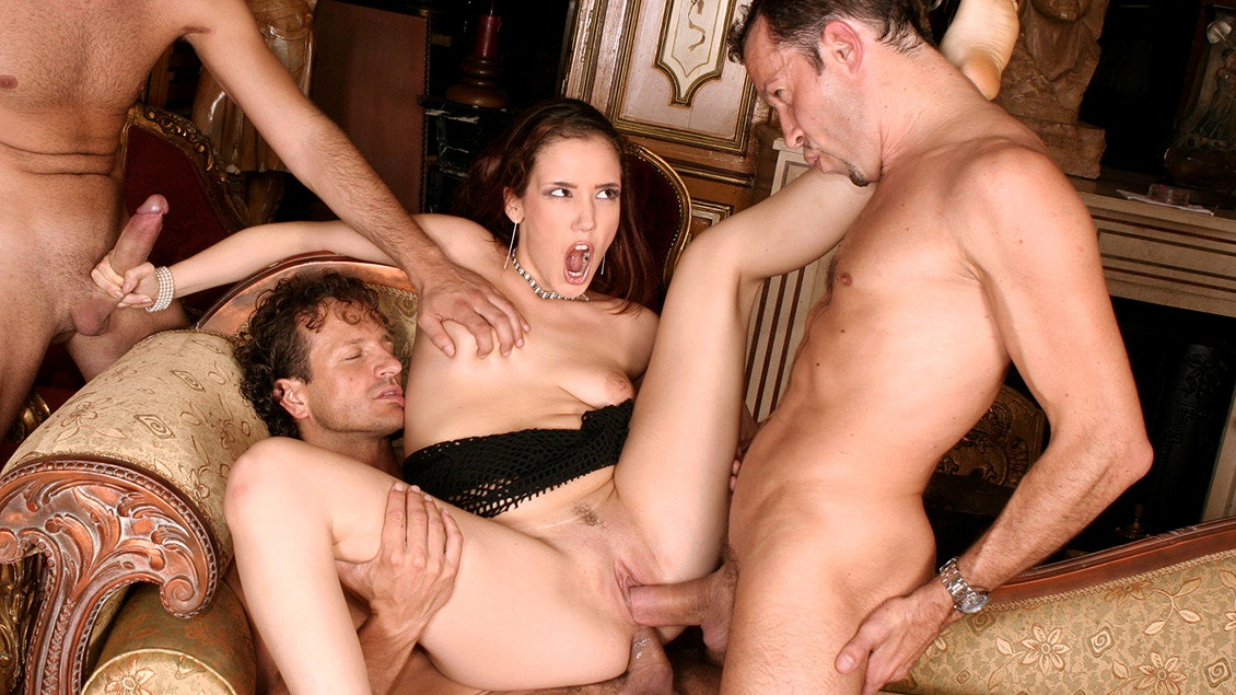 Brunette Cinthya Lavigne Gang Banged with Handjobs Blowjobs and DP