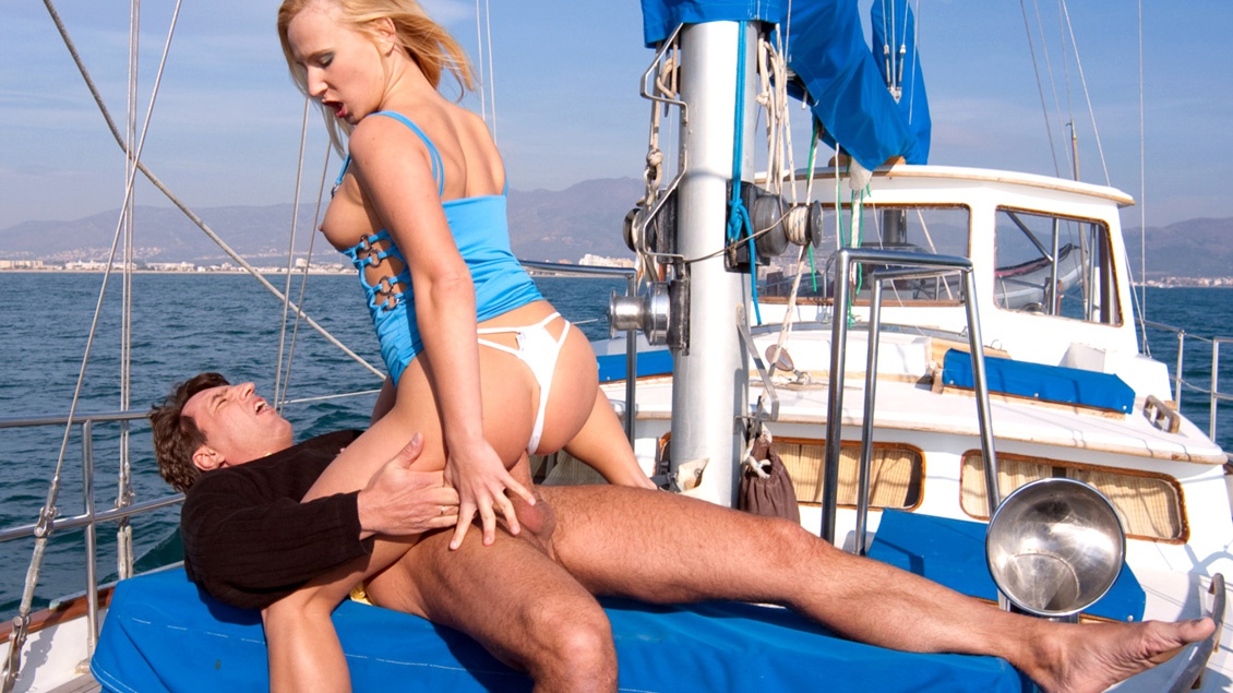 On the Boat out at Sea Gina Has Sex with a Man Wearing a Suit