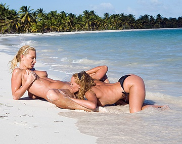 Private HD porn video: Blonde Lesbians Angelina Love and Kathy Campbel Wild Sex on the Beach