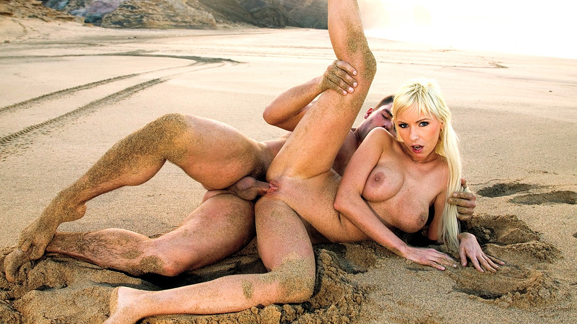 Blonde Powerhouse Alexis Finds Some Cock on the Beach