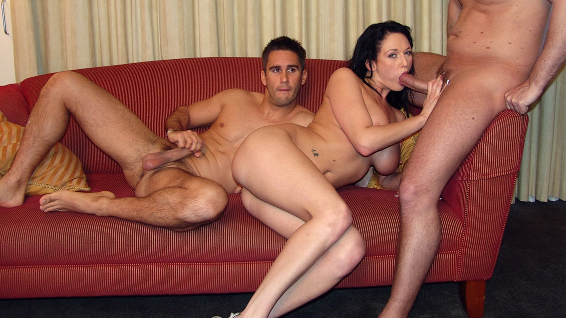 Big Boobed Brunette Donna Marie Gets Two Holes Filled in MMF 3 Way DP