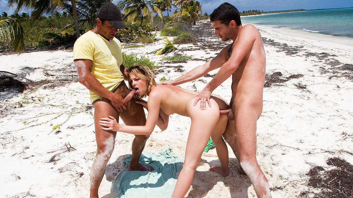 British Starlet Cristal Screwing Two Guys on the Beach