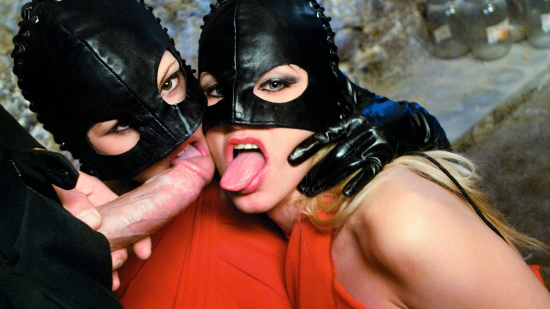 Masked Vampires Liliane Tiger and Natalli Di Angelo Suck Dick for Cum