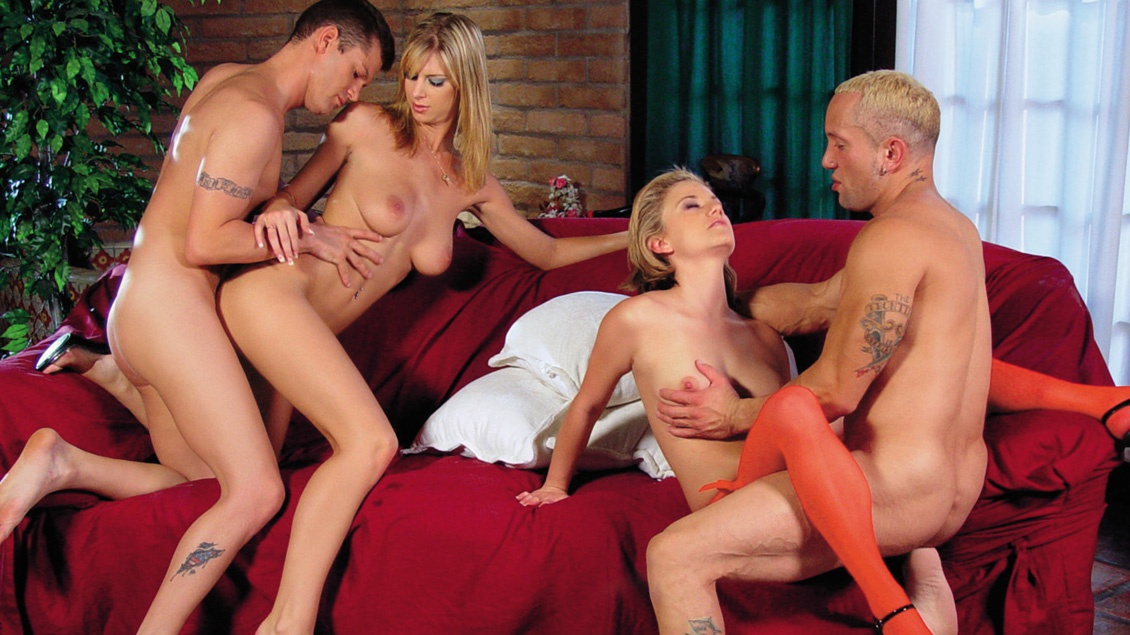 A Foursome Sex Scene with Alex and Brooke and Two Horny Studs