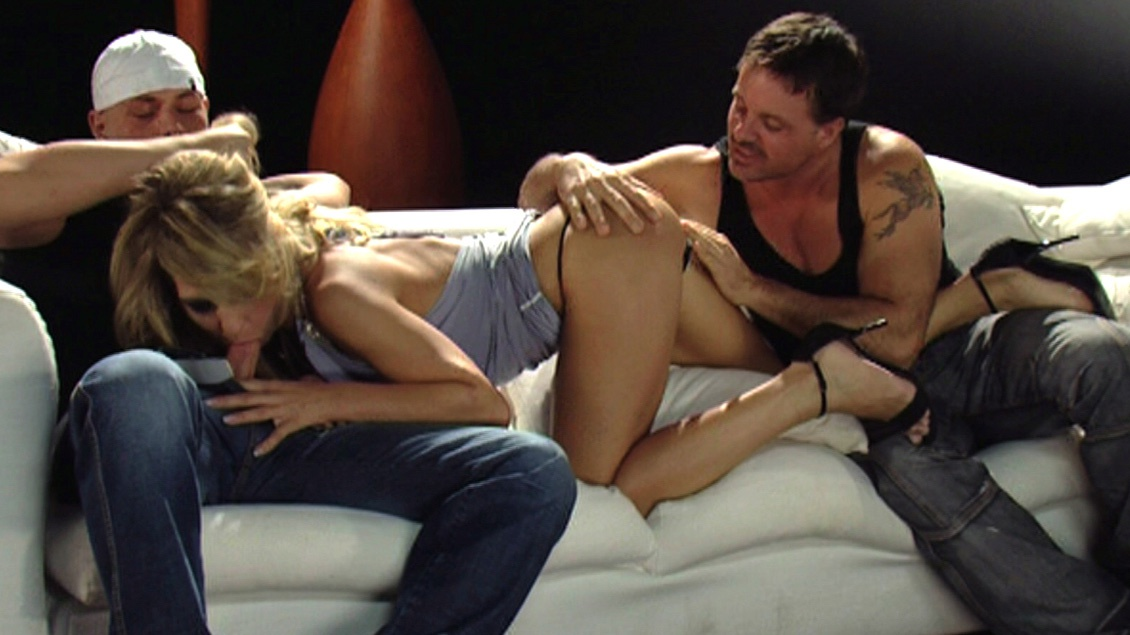 Horny Kristi Picks up Three Guys and Brings Them Home for Sex Play