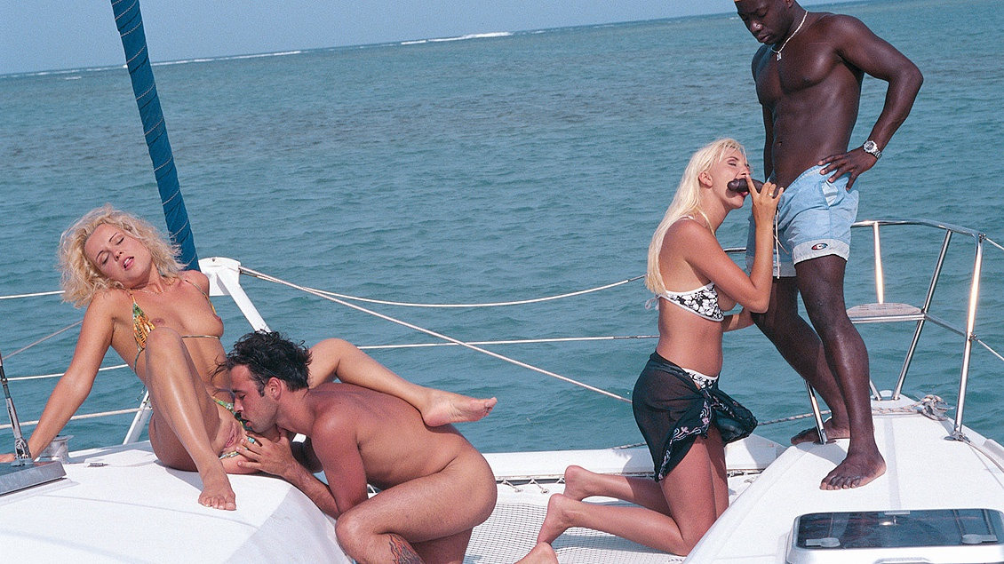Kyra and Sheena Pearl Sucking Dick on Yacht during Interracial Fourway