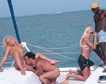 Private  porn video: Kyra and Sheena Pearl Sucking Dick on Yacht during Interracial Fourway