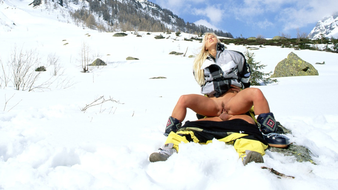 Sharon Bright Is on a Snowy Mountain Giving a Ski Instructor a Blowjob