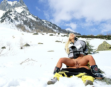 Private  porn video: Sharon Bright Is on a Snowy Mountain Giving a Ski Instructor a Blowjob