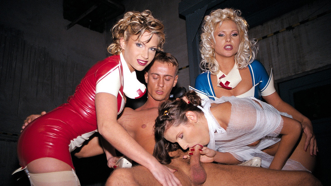 Kathy Anderson and Her Girlfriends Help the New Nurse Cum