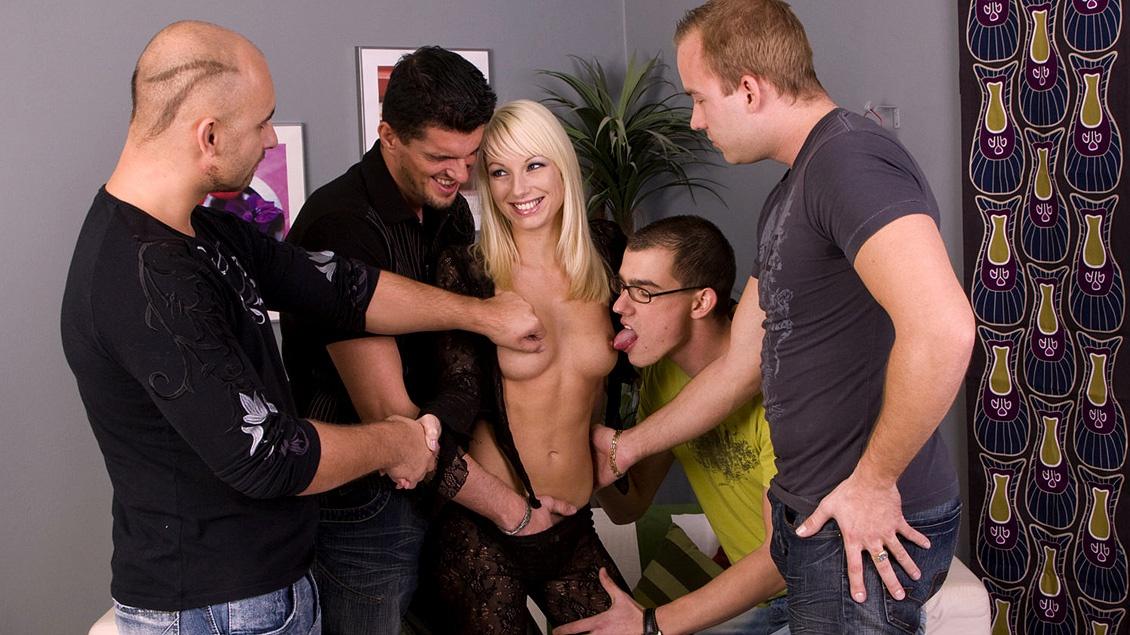Blonde Lena Cova Gets Wild Gang Bang with Handjobs Blowjobs and DP