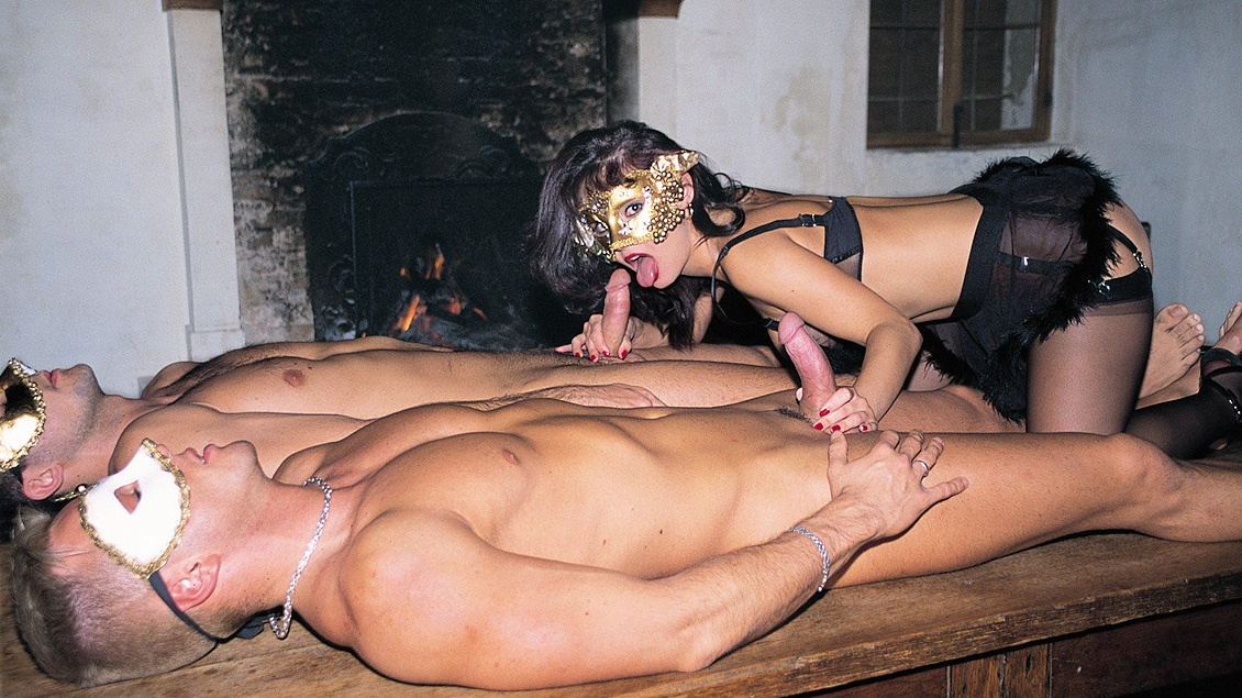 Daniella Rush Wanda Curtis and Zita BDSM with Two Masked Dick Suckers