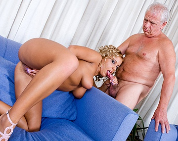 Private  porn video: Big Boobed Blonde Amanda Masturbates with Dildo While Blowing Old Man