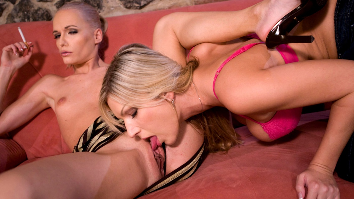 Blondes Carol and Keana Moire with Lesbian Muff Diving and Fingering