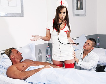 Private  porn video: Gorgeous Nurse Cindy Dollar Takes Care of two Patients Who Give Her a DP