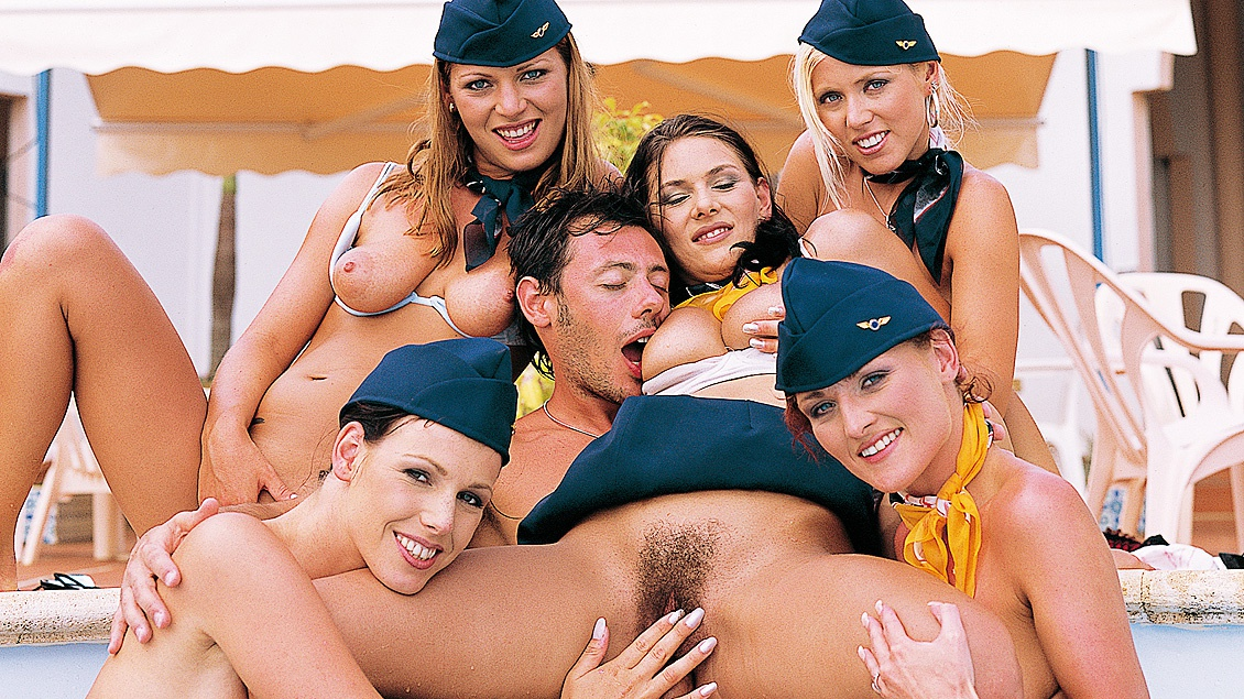 Five Flight Attendants Want to Fuck Francesco All Together