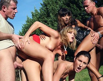 Private HD porn video: A Group Sex Scene Outdoors with Three Horny Girls and Two Guys