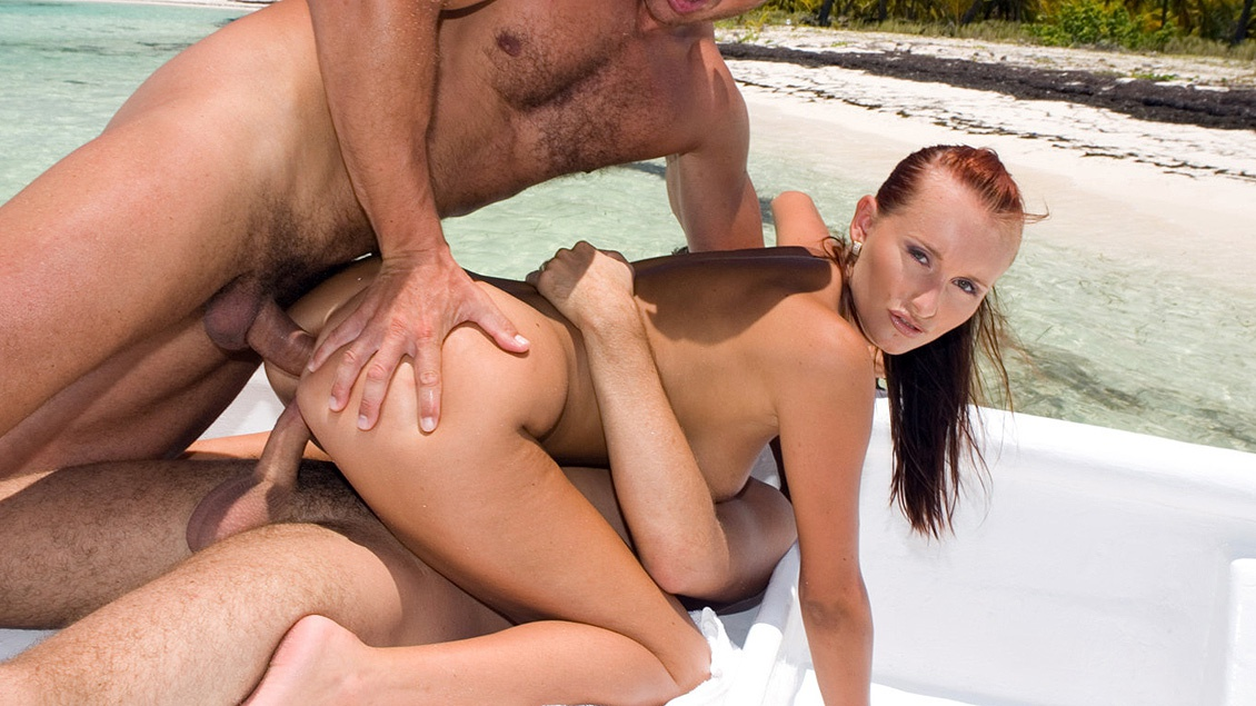 Claudia Adams Enjoys Two Men on a Boat