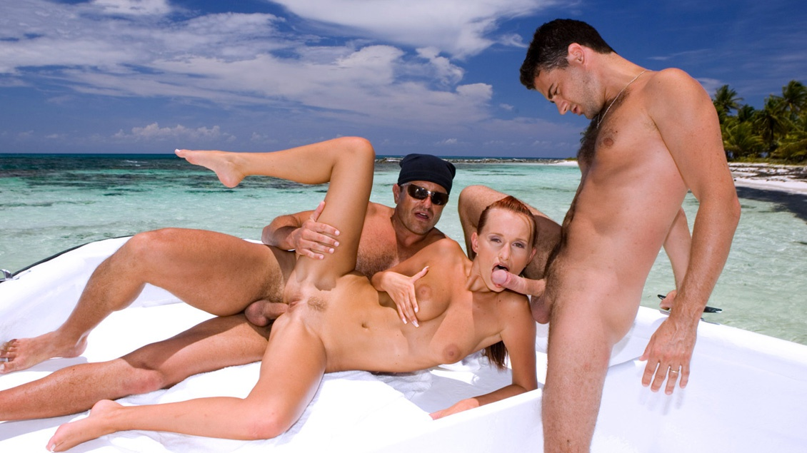 Claudia Adams Happily Satisfies Two Men on a Docked Boat