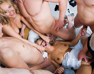 Private  porn video: Two Horny Ladies Take on Five Guys in a Group Scene