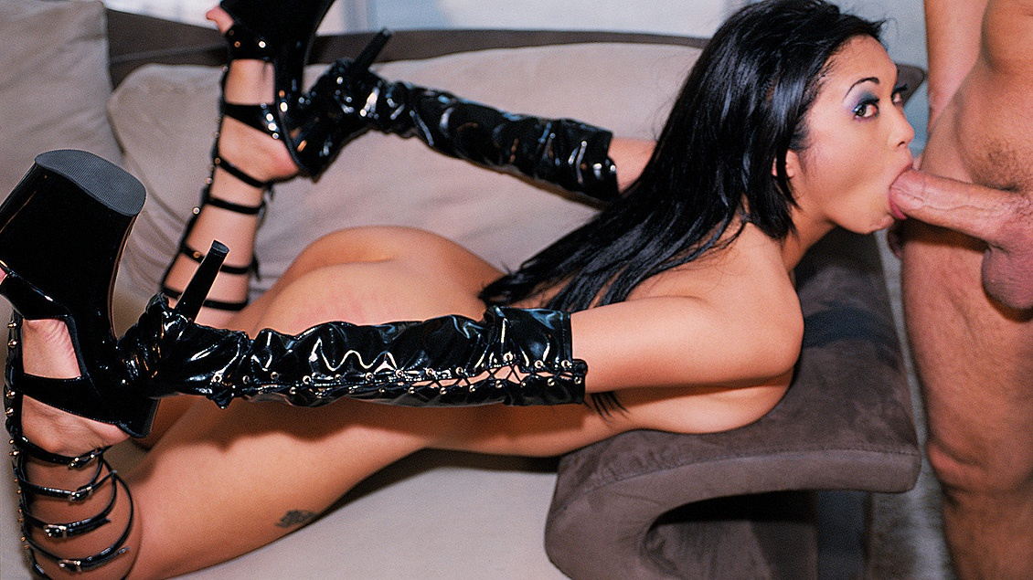 Asian Mika Tan Gives Erotic Blowjob While Wearing Latex and Butt Plug