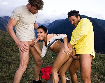 Private  porn video: Sunny Jay Meets Two Mountain Bikers and Has a MMF Threeway with a DP