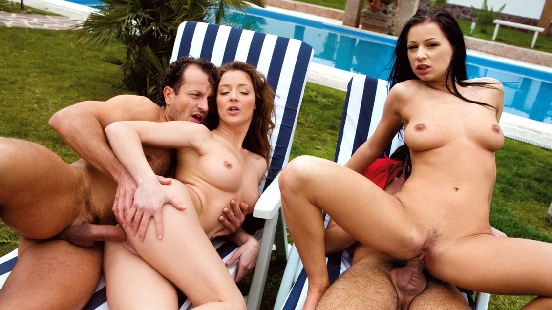 Judith Fox and Tera Bond Lick Tits While Fucking in a MMFF Foursome