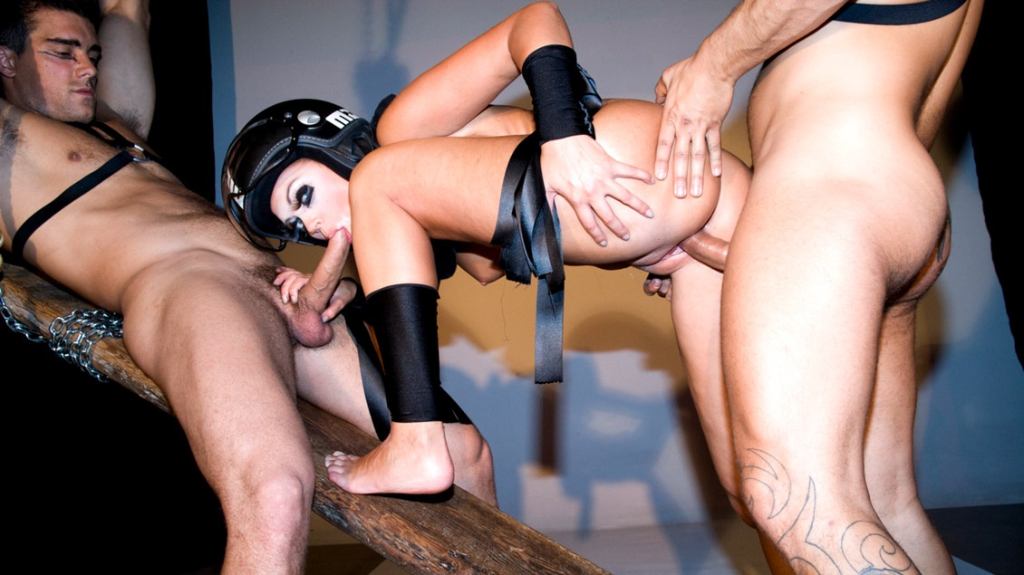 Terri Wears Her Helmet While Getting Double Penetrated by Two Guys