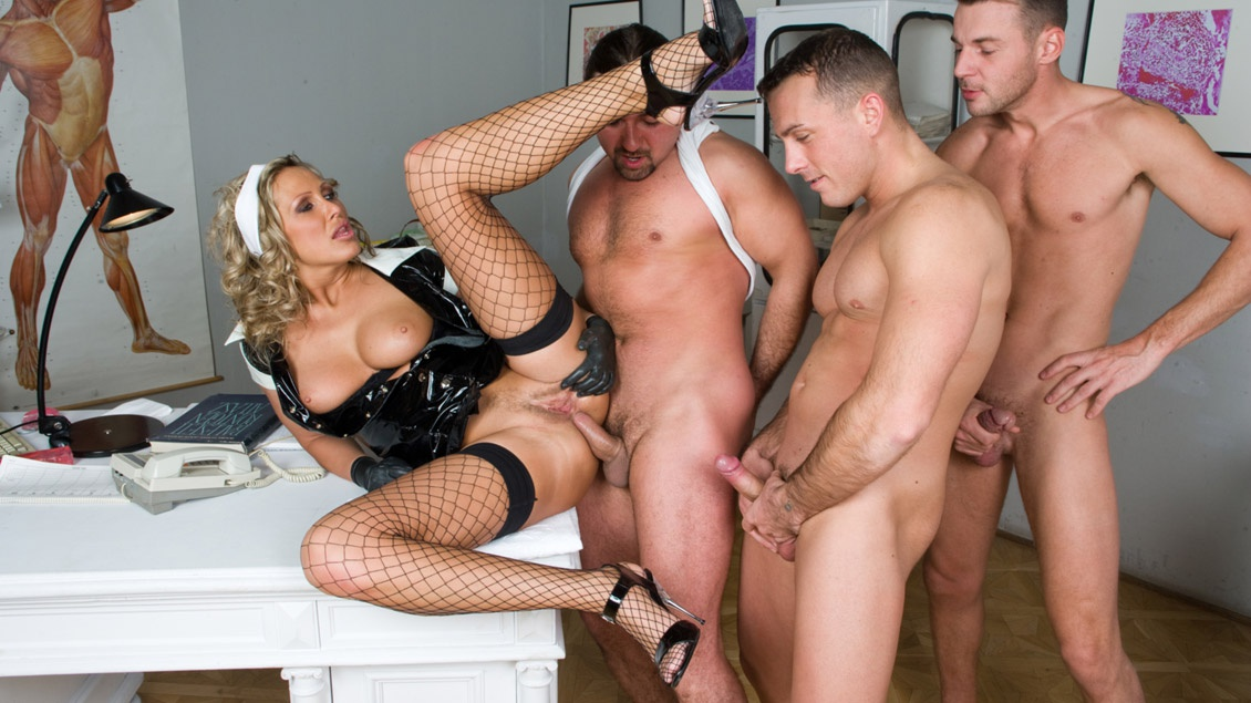Mandy Dominates Three Men and Gets All of Them off as a Nasty Nurse
