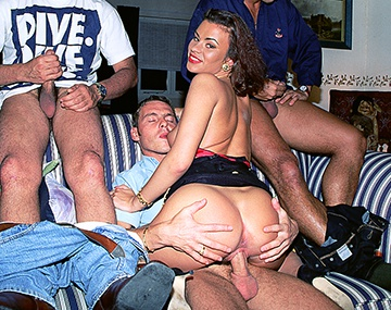 Private  porn video: Miss Julia Takes on Three Hard Cocks in This Gangbang Scene