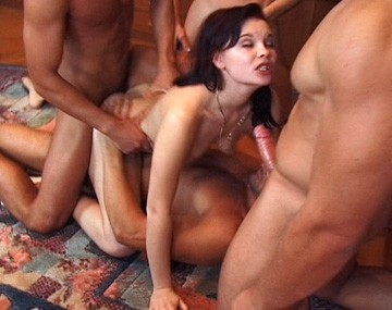 Private  porn video: Jessika Caught in the Middle of a Hardcore Gang Bang with Anal Sex