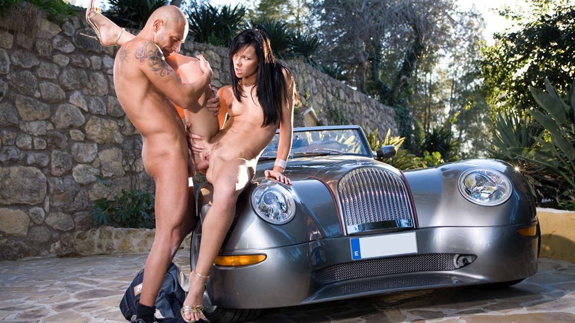 The Great Brunette Suzie Gets Felt up and Fucked Right on the Car
