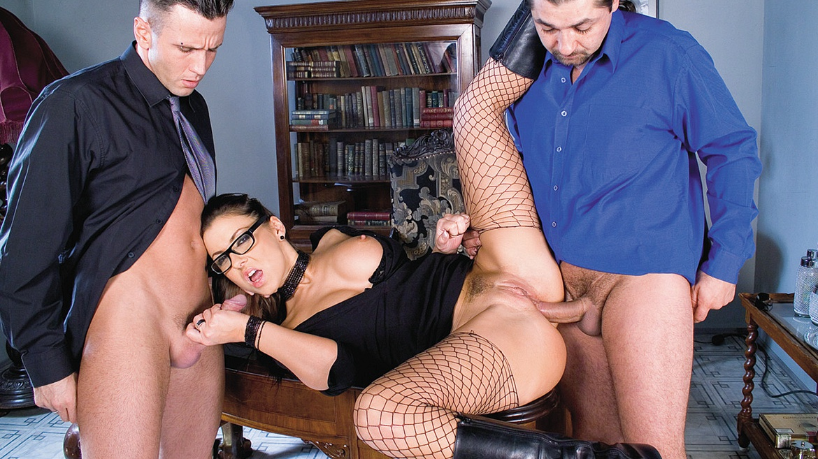 A Horny Maria Takes on Two Hard Dicks and Gets Double Penetrated