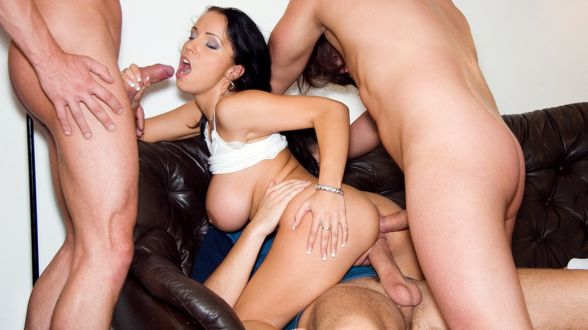 Busty Laura Gets Gang Banged and Drilled Deep in Her Tight Ass