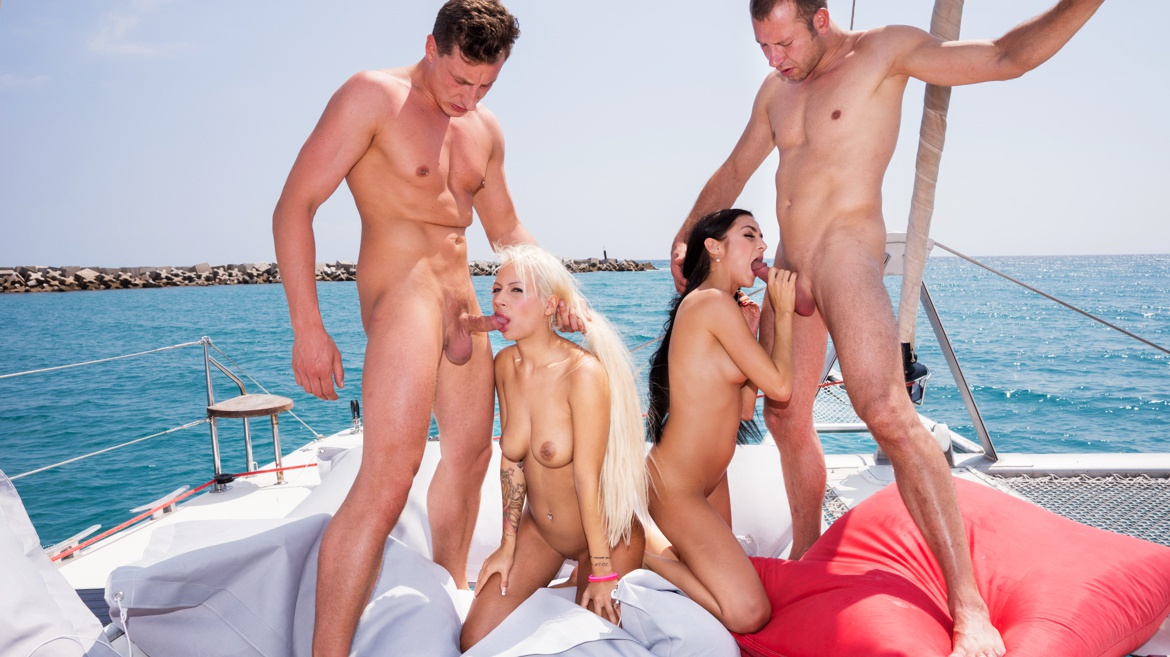 Lullu and Julie Have Sex Together and with Two Men on a Boat