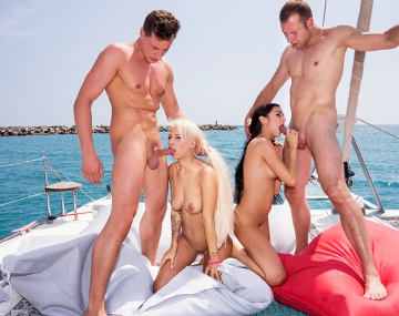 Private HD porn video: Lullu and Julie Have Sex Together and with Two Men on a Boat