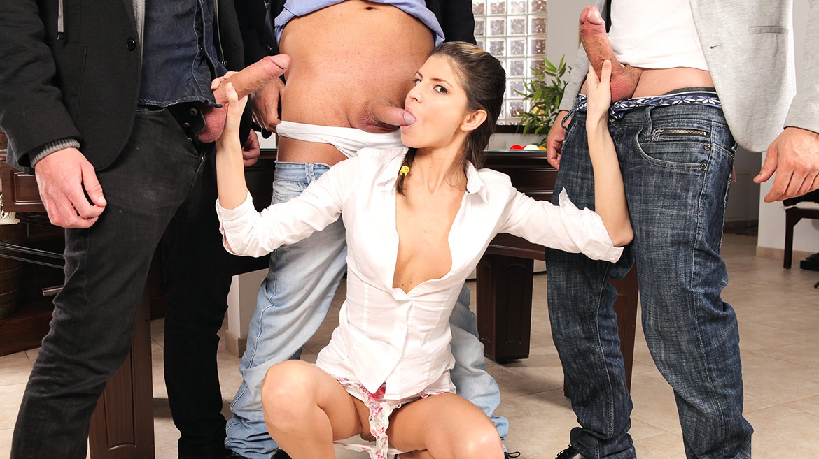 Gina Gerson Gets Private Lesson On How To Gangbang