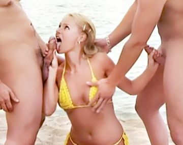 Private  porn video: In her exclusive scene Nikki Sun mounts a trio with DP on the beach