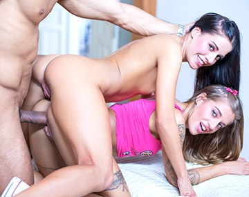 Private HD porn video: The Dellai twins have a wild trio with Angelo Godshack