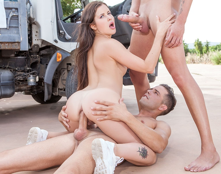 Private HD porn video: Cassie Fire, horny hitchiker in an anal threesome with two truckers