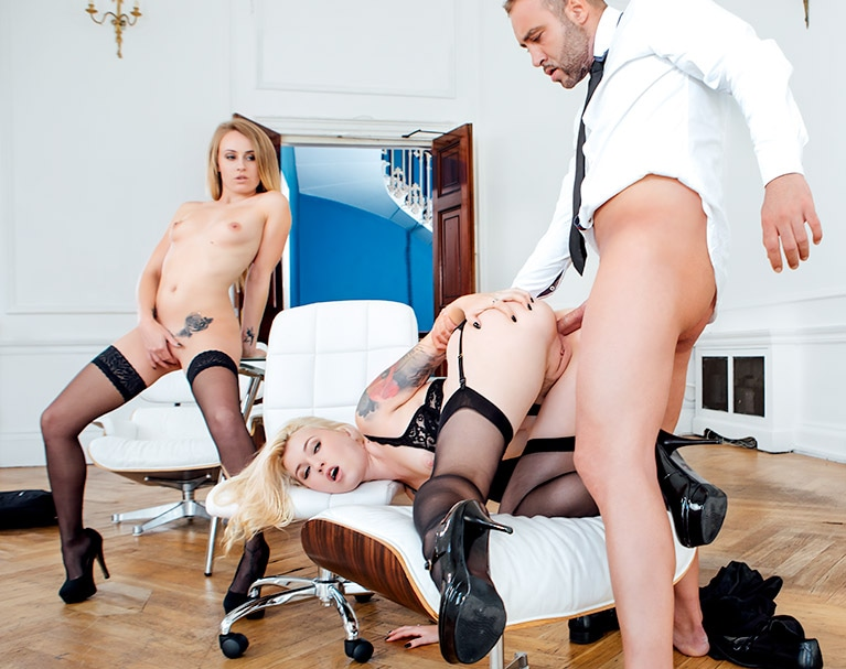 Private HD porn video: Secretaries Misha Cross and Carmel Andersson in anal threeway
