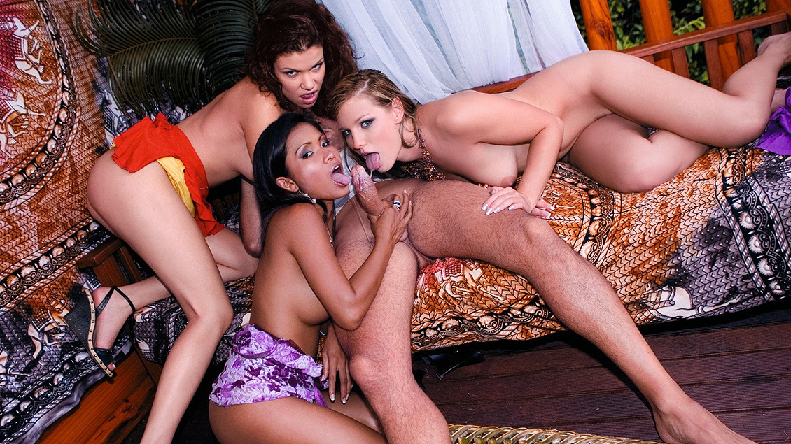 Three Amazing Girls Fuck One Lucky Man outside on the Porch