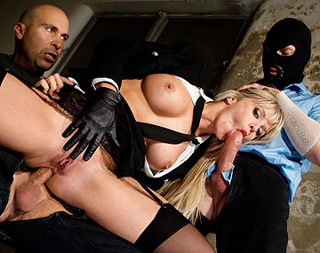 Private HD porn video: Gorgeous Big Boobed Blonde in Uniform Satisfies Two Jail Birds