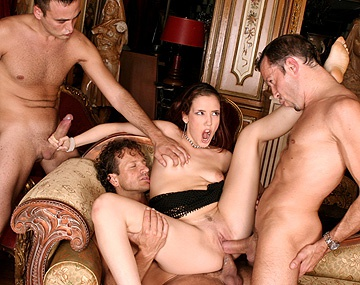 Private  porn video: Brunette Cinthya Lavigne Gang Banged with Handjobs Blowjobs and DP
