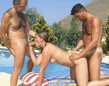 Private  porn video: MILF Brandy Rides One Dick Blows Another in MMF Outdoor Threesome