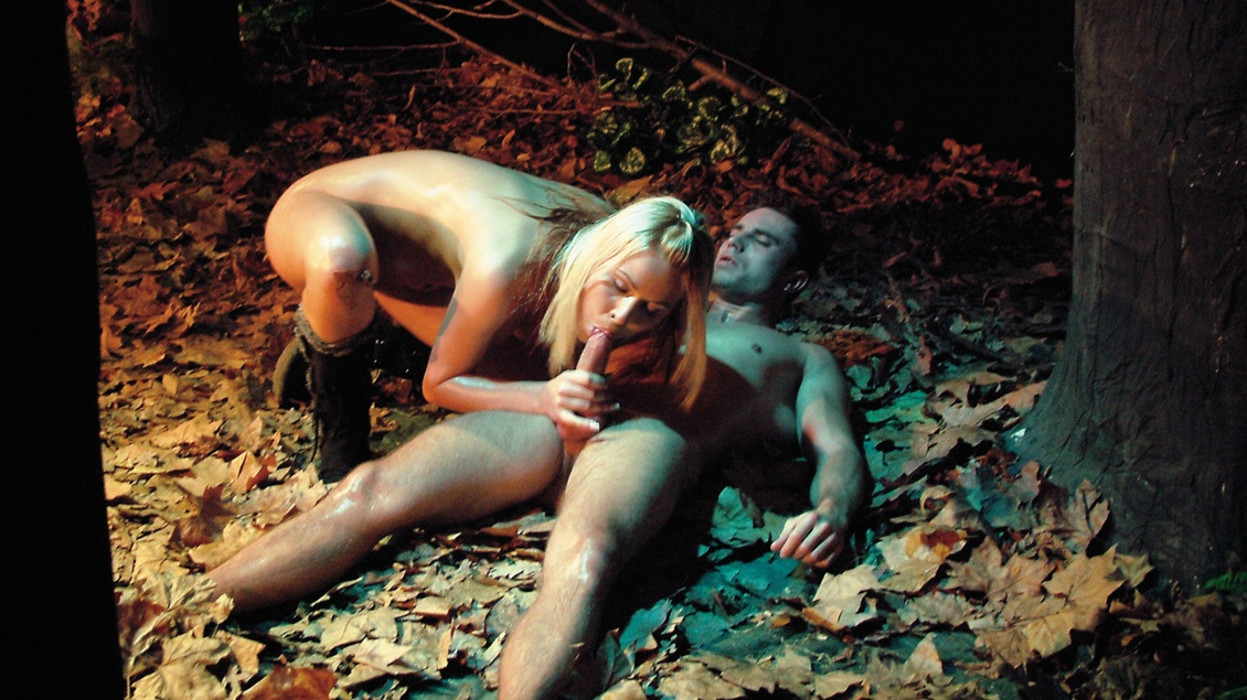 Blonde Beauty Anastasia Christ Outdoors in Woods Sucking and Screwing