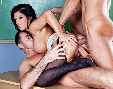 Private HD porn video: School Teacher Amanda Bleak Gives Deep Throat Blowjobs in MMF Threeway