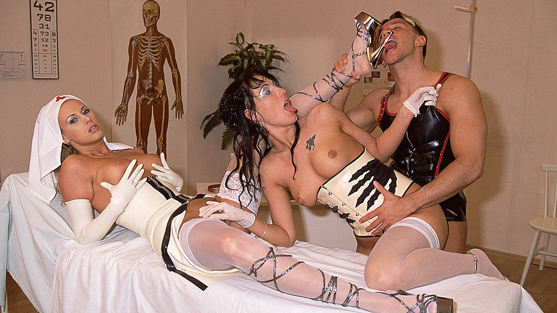 Nurses Dorothy Match and Melody Kord Examine Hard Dick before Blowjob